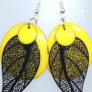boucles tagua jaune noir
