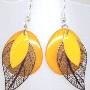 boucles tagua jaune safran
