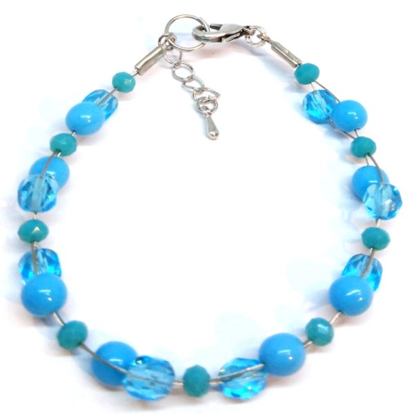 bracelet femme perles bleu ciel