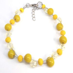 bracelet femme perles jaune
