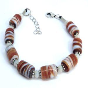 bracelet femme perles marron