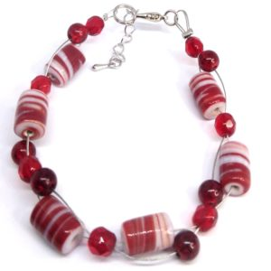 bracelet femme perles rouge tresse