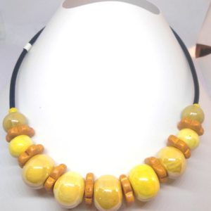 collier ceramique jaune