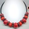 collier ceramique rouge orange