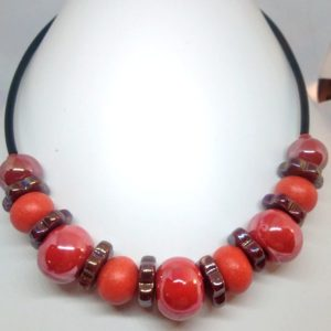 collier ceramique rouge orange