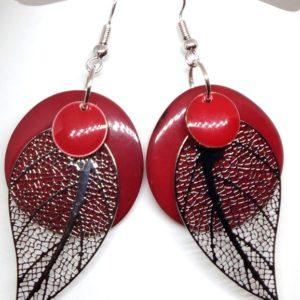 boucles tagua rouge feuille argent