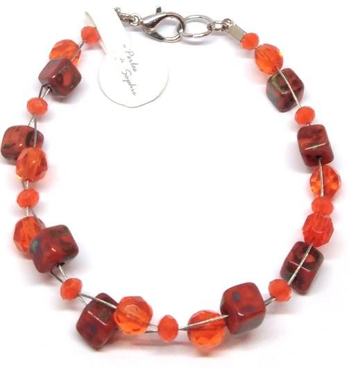 bracelet perles tresse orange